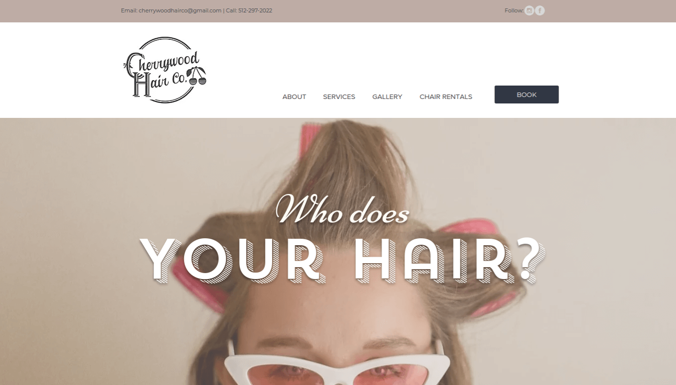 hero section for cherrywood hair co home page
